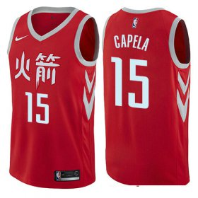 Wholesale Cheap Houston Rockets #15 Clint Capela Red Nike NBA Men\'s Stitched Swingman Jersey City Edition
