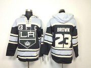 Wholesale Cheap Kings #23 Dustin Brown Black Sawyer Hooded Sweatshirt Stitched NHL Jersey
