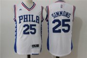 Wholesale Cheap Men's Philadelphia 76ers #25 Ben Simmons White Revolution 30 Swingman Basketball Jersey