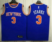 Wholesale Cheap Men's New York Knicks #3 John Starks New Blue 2017-2018 Nike Swingman Stitched NBA Jersey