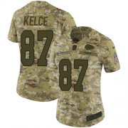 Wholesale Cheap Nike Chiefs #87 Travis Kelce Camo Women's Stitched NFL Limited 2018 Salute to Service Jersey