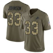 Wholesale Cheap Nike Lions #33 Kerryon Johnson Olive/Camo Youth Stitched NFL Limited 2017 Salute to Service Jersey