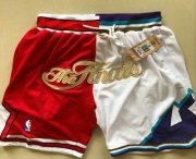 Wholesale Cheap Men's Chicago Bulls and Utah Jazz Red With White 1997 The Finals Patch Split Just Don Shorts