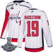 Wholesale Cheap Adidas Capitals #19 Nicklas Backstrom White Road Authentic Stanley Cup Final Champions Stitched NHL Jersey