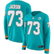 Wholesale Cheap Nike Dolphins #73 Austin Jackson Aqua Green Team Color Women's Stitched NFL Limited Therma Long Sleeve Jersey