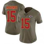 Wholesale Cheap Nike Chiefs #15 Patrick Mahomes Olive Women's Stitched NFL Limited 2017 Salute to Service Jersey