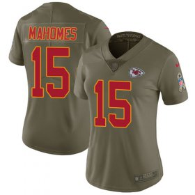 Wholesale Cheap Nike Chiefs #15 Patrick Mahomes Olive Women\'s Stitched NFL Limited 2017 Salute to Service Jersey