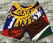 Wholesale Cheap Men's Los Angeles Lakers Multi Color Hardwood Classics Soul Swingman Throwback Printed NBA Shorts