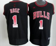 Wholesale Cheap Chicago Bulls #1 Derrick Rose 2012 Vibe Black Fashion Jersey