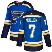 Wholesale Cheap Adidas Blues #7 Joe Mullen Blue Home Authentic Stitched NHL Jersey