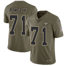 Wholesale Cheap Nike Saints #71 Ryan Ramczyk Olive Men\'s Stitched NFL Limited 2017 Salute To Service Jersey