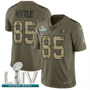 Wholesale Cheap Nike 49ers #85 George Kittle Olive/Camo Super Bowl LIV 2020 Men's Stitched NFL Limited 2017 Salute To Service Jersey