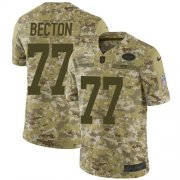 Wholesale Cheap Nike Jets #77 Mekhi Becton Camo Men's Stitched NFL Limited 2018 Salute To Service Jersey