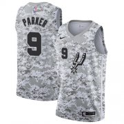 Wholesale Cheap Men's Nike San Antonio Spurs #9 Tony Parker White Camo Basketball Swingman Earned Edition Jersey
