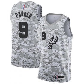 Wholesale Cheap Men\'s Nike San Antonio Spurs #9 Tony Parker White Camo Basketball Swingman Earned Edition Jersey