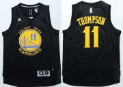 Wholesale Cheap Men's Golden State Warriors #11 Klay Thompson Revolution 30 Swingman 2014 New Black With Gold Jersey