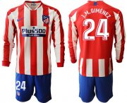 Wholesale Atletico Madrid #24 J.M.Gimenez Home Long Sleeves Soccer Club Jersey