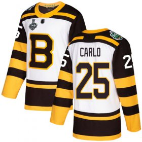 Wholesale Cheap Adidas Bruins #25 Brandon Carlo White Authentic 2019 Winter Classic Stanley Cup Final Bound Stitched NHL Jersey