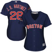 Wholesale Cheap Red Sox #28 J. D. Martinez Navy Blue Alternate 2018 World Series Women's Stitched MLB Jersey