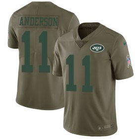Wholesale Cheap Nike Jets #11 Robby Anderson Olive Men\'s Stitched NFL Limited 2017 Salute To Service Jersey