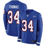 Wholesale Cheap Nike Bills #34 Thurman Thomas Royal Blue Team Color Men's Stitched NFL Limited Therma Long Sleeve Jersey