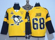Wholesale Cheap Penguins #68 Jaromir Jagr Gold 2017 Stadium Series Stanley Cup Finals Champions Stitched NHL Jersey