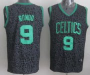 Wholesale Cheap Boston Celtics #9 Rajon Rondo Black Leopard Print Fashion Jersey