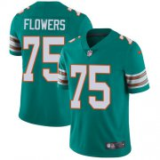 Wholesale Cheap Nike Dolphins #75 Ereck Flowers Aqua Green Alternate Youth Stitched NFL Vapor Untouchable Limited Jersey