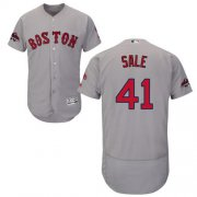 Wholesale Cheap Red Sox #41 Chris Sale Grey Flexbase Authentic Collection 2018 World Series Champions Stitched MLB Jersey
