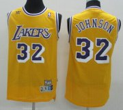 Wholesale Cheap Los Angeles Lakers #32 Magic Johnson Yellow Swingman Throwback Jersey