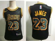 Cheap Los Angeles Lakers #23 LeBron James Black Toddlers Jersey