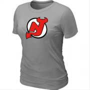 Wholesale Cheap Women's NHL New Jersey Devils Big & Tall Logo T-Shirt Light Grey