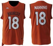 Wholesale Cheap Nike Broncos #18 Peyton Manning Orange Team Color Men's Stitched NFL Limited Tank Top Jersey