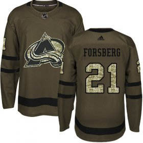 Wholesale Cheap Adidas Avalanche #21 Peter Forsberg Green Salute to Service Stitched Youth NHL Jersey