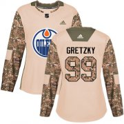 Wholesale Cheap Adidas Oilers #99 Wayne Gretzky Camo Authentic 2017 Veterans Day Women's Stitched NHL Jersey