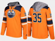 Wholesale Cheap Oilers #35 Al Montoya Orange Name And Number Hoodie