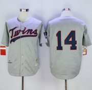 Wholesale Cheap Mitchell And Ness 1969 Twins #14 Kent Hrbek Grey Throwback Stitched MLB Jersey