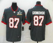 Wholesale Cheap Men's Tampa Bay Buccaneers #87 Rob Gronkowski Grey 2021 Super Bowl LV Stitched Vapor Untouchable Stitched Nike Limited NFL Jersey