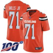 Wholesale Cheap Nike Browns #71 Jedrick Wills JR Orange Alternate Youth Stitched NFL 100th Season Vapor Untouchable Limited Jersey