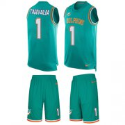 Wholesale Cheap Nike Dolphins #1 Tua Tagovailoa Aqua Green Team Color Men's Stitched NFL Limited Tank Top Suit Jersey