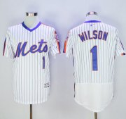 Wholesale Mets #1 Mookie Wilson White(Blue Strip) Flexbase Authentic Collection Alternate Stitched Baseball Jersey