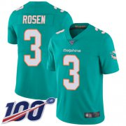 Wholesale Cheap Nike Dolphins #3 Josh Rosen Aqua Green Team Color Men's Stitched NFL 100th Season Vapor Limited Jersey