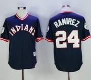 Wholesale Cheap Indians #24 Manny Ramirez Navy Blue 1976 Turn Back The Clock Stitched MLB Jersey