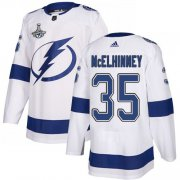 Cheap Adidas Lightning #35 Curtis McElhinney White Road Authentic 2020 Stanley Cup Champions Stitched NHL Jersey