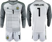 Wholesale Cheap Argentina #1 Caballero Grey Long Sleeves Goalkeeper Soccer Country Jersey