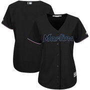 Wholesale Cheap Marlins Black Majestic Women's Alternate Team Cool Base Stitched MLB Jersey