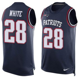 Wholesale Cheap Nike Patriots #28 James White Navy Blue Team Color Men\'s Stitched NFL Limited Tank Top Jersey
