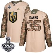 Wholesale Cheap Adidas Golden Knights #35 Oscar Dansk Camo Authentic 2017 Veterans Day 2018 Stanley Cup Final Stitched NHL Jersey
