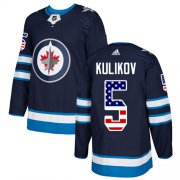 Wholesale Cheap Adidas Jets #5 Dmitry Kulikov Navy Blue Home Authentic USA Flag Stitched NHL Jersey