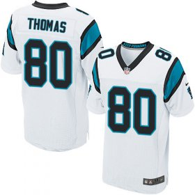 Wholesale Cheap Nike Panthers #80 Ian Thomas White Men\'s Stitched NFL Elite Jersey